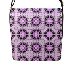 Pretty Pink Floral Purple Seamless Wallpaper Background Flap Messenger Bag (L)