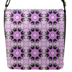 Pretty Pink Floral Purple Seamless Wallpaper Background Flap Messenger Bag (s)