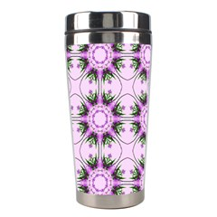 Pretty Pink Floral Purple Seamless Wallpaper Background Stainless Steel Travel Tumblers