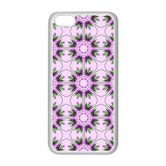 Pretty Pink Floral Purple Seamless Wallpaper Background Apple iPhone 5C Seamless Case (White)