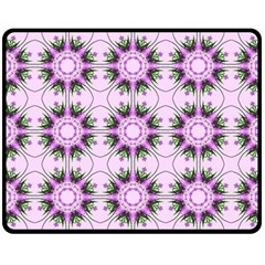Pretty Pink Floral Purple Seamless Wallpaper Background Double Sided Fleece Blanket (Medium)