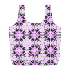 Pretty Pink Floral Purple Seamless Wallpaper Background Full Print Recycle Bags (l)