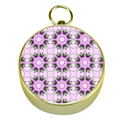 Pretty Pink Floral Purple Seamless Wallpaper Background Gold Compasses