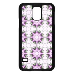 Pretty Pink Floral Purple Seamless Wallpaper Background Samsung Galaxy S5 Case (black)