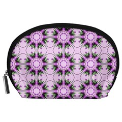 Pretty Pink Floral Purple Seamless Wallpaper Background Accessory Pouches (Large)