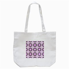 Pretty Pink Floral Purple Seamless Wallpaper Background Tote Bag (White)