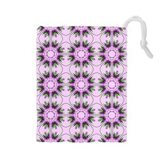 Pretty Pink Floral Purple Seamless Wallpaper Background Drawstring Pouches (Large)