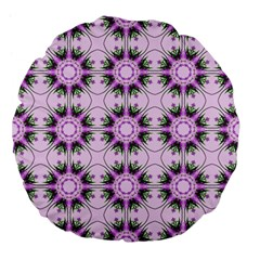 Pretty Pink Floral Purple Seamless Wallpaper Background Large 18  Premium Flano Round Cushions