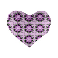 Pretty Pink Floral Purple Seamless Wallpaper Background Standard 16  Premium Flano Heart Shape Cushions