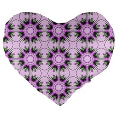 Pretty Pink Floral Purple Seamless Wallpaper Background Large 19  Premium Flano Heart Shape Cushions