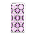 Pretty Pink Floral Purple Seamless Wallpaper Background Apple iPhone 6/6S White Enamel Case Front