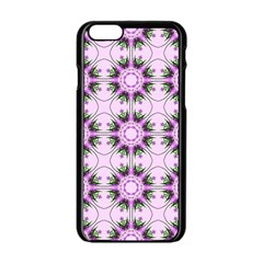 Pretty Pink Floral Purple Seamless Wallpaper Background Apple iPhone 6/6S Black Enamel Case