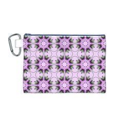 Pretty Pink Floral Purple Seamless Wallpaper Background Canvas Cosmetic Bag (M)