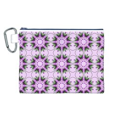 Pretty Pink Floral Purple Seamless Wallpaper Background Canvas Cosmetic Bag (l)