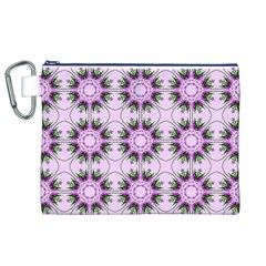 Pretty Pink Floral Purple Seamless Wallpaper Background Canvas Cosmetic Bag (XL)