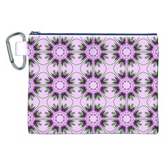 Pretty Pink Floral Purple Seamless Wallpaper Background Canvas Cosmetic Bag (XXL)