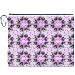 Pretty Pink Floral Purple Seamless Wallpaper Background Canvas Cosmetic Bag (xxxl)