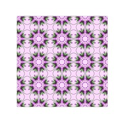 Pretty Pink Floral Purple Seamless Wallpaper Background Small Satin Scarf (Square)