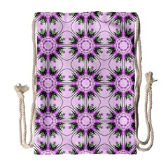 Pretty Pink Floral Purple Seamless Wallpaper Background Drawstring Bag (Large)