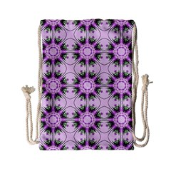 Pretty Pink Floral Purple Seamless Wallpaper Background Drawstring Bag (Small)