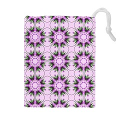 Pretty Pink Floral Purple Seamless Wallpaper Background Drawstring Pouches (Extra Large)