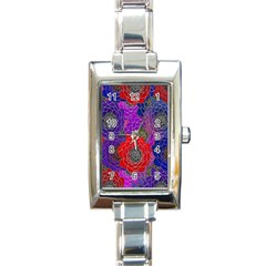Colorful Background Of Multi Color Floral Pattern Rectangle Italian Charm Watch