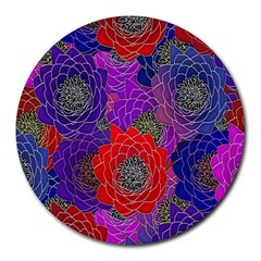 Colorful Background Of Multi Color Floral Pattern Round Mousepads