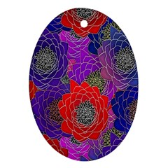 Colorful Background Of Multi Color Floral Pattern Ornament (oval)