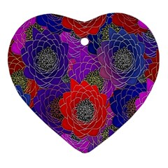 Colorful Background Of Multi Color Floral Pattern Ornament (Heart)