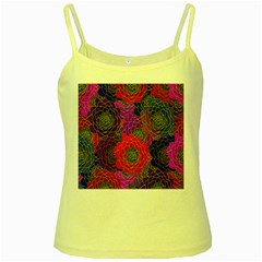 Colorful Background Of Multi Color Floral Pattern Yellow Spaghetti Tank