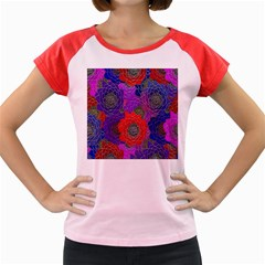 Colorful Background Of Multi Color Floral Pattern Women s Cap Sleeve T Shirt