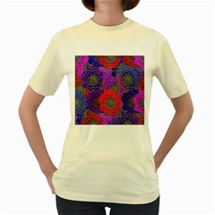 Colorful Background Of Multi Color Floral Pattern Women s Yellow T Shirt