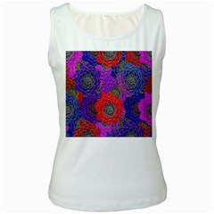 Colorful Background Of Multi Color Floral Pattern Women s White Tank Top