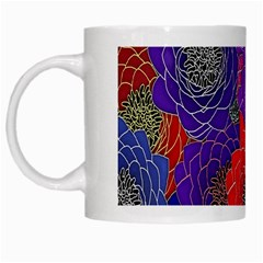 Colorful Background Of Multi Color Floral Pattern White Mugs