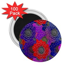 Colorful Background Of Multi Color Floral Pattern 2.25  Magnets (100 pack)