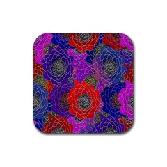 Colorful Background Of Multi Color Floral Pattern Rubber Square Coaster (4 pack)