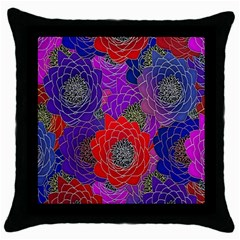 Colorful Background Of Multi Color Floral Pattern Throw Pillow Case (black)