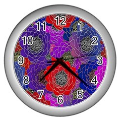 Colorful Background Of Multi Color Floral Pattern Wall Clocks (silver)