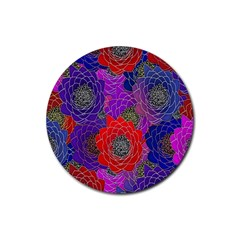 Colorful Background Of Multi Color Floral Pattern Rubber Coaster (Round)