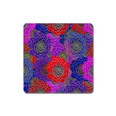 Colorful Background Of Multi Color Floral Pattern Square Magnet