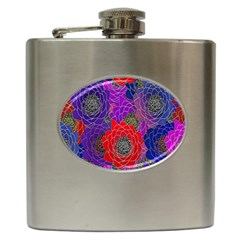 Colorful Background Of Multi Color Floral Pattern Hip Flask (6 oz)