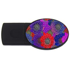 Colorful Background Of Multi Color Floral Pattern USB Flash Drive Oval (1 GB)