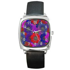Colorful Background Of Multi Color Floral Pattern Square Metal Watch