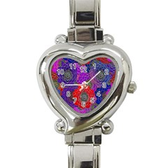 Colorful Background Of Multi Color Floral Pattern Heart Italian Charm Watch