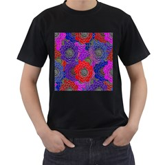 Colorful Background Of Multi Color Floral Pattern Men s T Shirt (black) (two Sided)