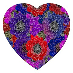 Colorful Background Of Multi Color Floral Pattern Jigsaw Puzzle (Heart)