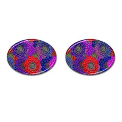 Colorful Background Of Multi Color Floral Pattern Cufflinks (Oval)