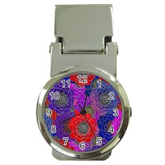 Colorful Background Of Multi Color Floral Pattern Money Clip Watches