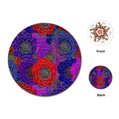 Colorful Background Of Multi Color Floral Pattern Playing Cards (Round)