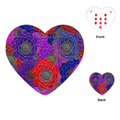 Colorful Background Of Multi Color Floral Pattern Playing Cards (Heart)